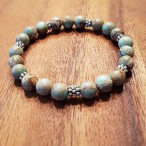 8 mm Jasper & silver tone bead bracelet